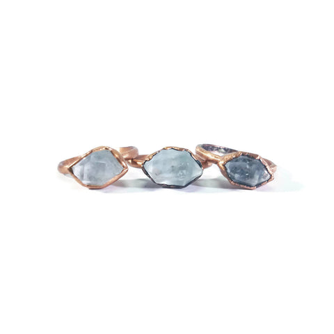 Herkimer Diamond Ring | Raw Crystal Ring | Raw Diamond Ring | Dainty Crystal Ring | Copper Crystal Ring | Copper Diamond Ring | Boho Ring