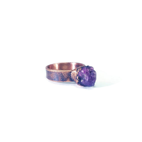 Raw Ruby Ring | Ruby Ring | July Birthstone Ring | Wide Band Ring | Wide Band Stone Ring | Mens Stone Ring | Electroformed Crystal Ring