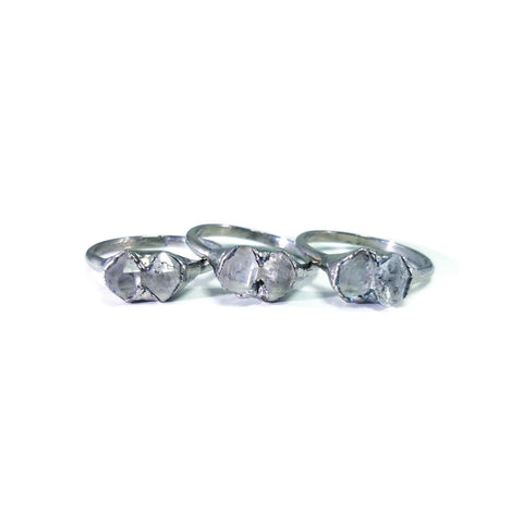 Silver Herkimer Diamond Ring | Double Diamond Ring | Raw Crystal Ring | Multi Stone Ring | Engagement Ring | Quartz Birthstone | Raw Stone