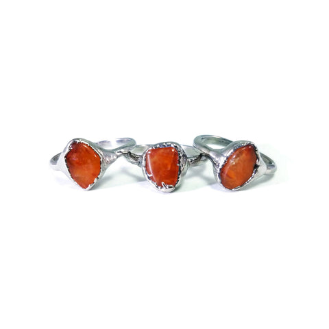 Silver Carnelian Ring | Carnelian Ring | Raw Carnelian Ring | August Birthstone Ring | Raw Crystal Ring | Raw Stone Ring | Stacking Ring