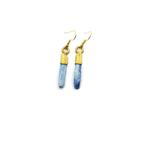 Gold Blue Kyanite Earrings | Gold Kyanite Earrings | Raw Kyanite Earrings | Blue Kyanite Earrings | Raw Crystal Earrings | Blue Kyanite