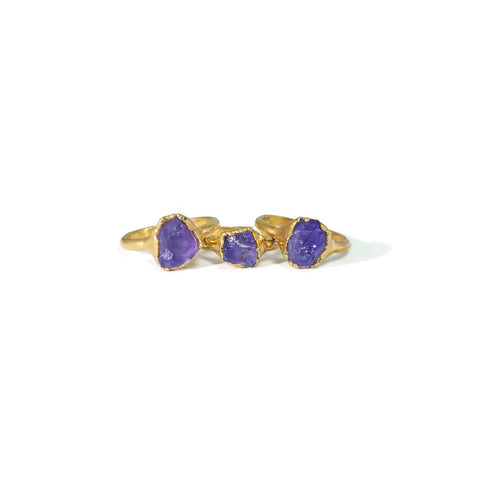 Gold Amethyst Ring | Raw Gold Amethyst Ring | Stacking Amethyst Ring | Febuary Birthstone Ring | Amethyst Birthstone Ring | Raw Crystal Ring