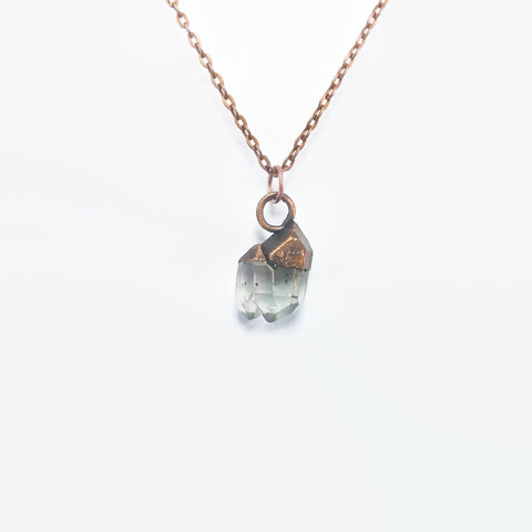 Raw Crystal Necklace | Raw Crystal Pendant | Herkimer Diamond Necklace | Herkimer Diamond Pendant | Copper Necklace | Raw Stone Necklace