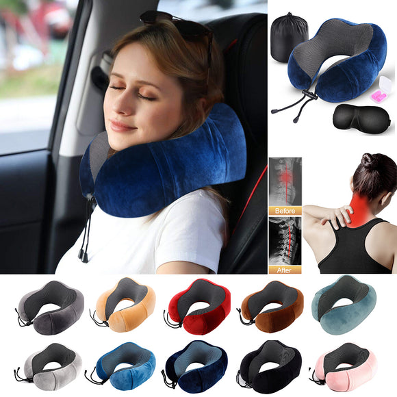 Travel U Shape Pillow Neck Foam Pillow Cushion - Nap Pillows for Sleep for Airplane Car Flight Head Chin Support