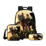 How To Train Your Dragon 3D Printing Backpacks Pencil Bag 3Pcs/Set Portfolio Kids Travel Bags