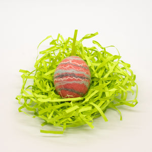 Pink Felted Egg Soap with Gray/Blue/White Stripes