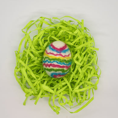 White Felted Egg Soap with Rainbow Stripes