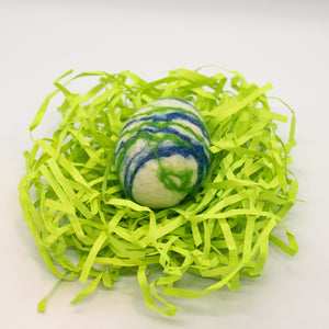 White Felted Egg Soap with Green and Blue Stripes