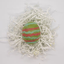 Load image into Gallery viewer, Light Green Felted Egg Soap with Coral and Light Blue Stripes