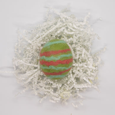 Light Green Felted Egg Soap with Coral and Light Blue Stripes