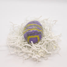 Load image into Gallery viewer, Purple Felted Egg Soap with Yellow, Gray and White Stripes