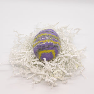 Purple Felted Egg Soap with Yellow, Gray and White Stripes