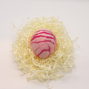 Pink Felted Egg Soap with Pink and White Stripes