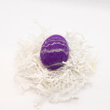 Load image into Gallery viewer, Royal Purple Felted Egg Soap with Gray and White Stripes