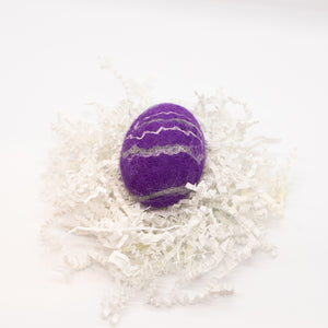 Royal Purple Felted Egg Soap with Gray and White Stripes