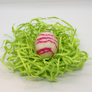 White Felted Egg Soap with Pink Stripes