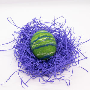 Green Felted Egg Soap with Blue and White Stripes