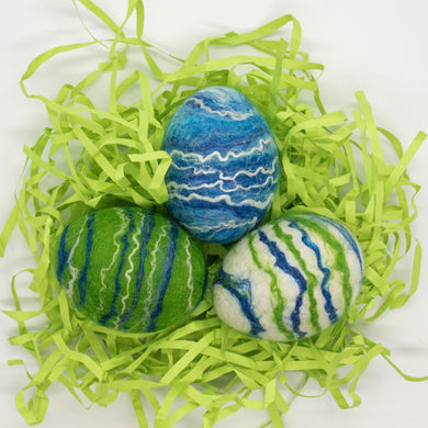 Set of 3 Felted Egg Soaps - Green, Blue, White Striped