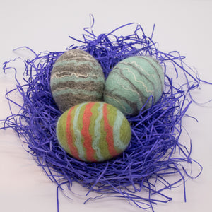 Set of 3 Felted Egg Soaps - Gray, Light Blue, Light Green Striped