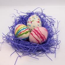Load image into Gallery viewer, Set of 3 Felted Egg Soaps - White Speckled + White and Pink Striped