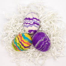 Load image into Gallery viewer, Set of 3 Egg Soaps - Yellow, Purple, White Striped