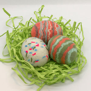 Set of 3 Felted Egg Soaps - White Speckled + Coral and Green Striped