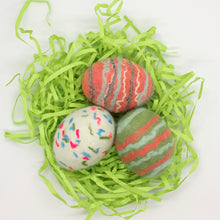 Load image into Gallery viewer, Set of 3 Felted Egg Soaps - White Speckled + Coral and Green Striped