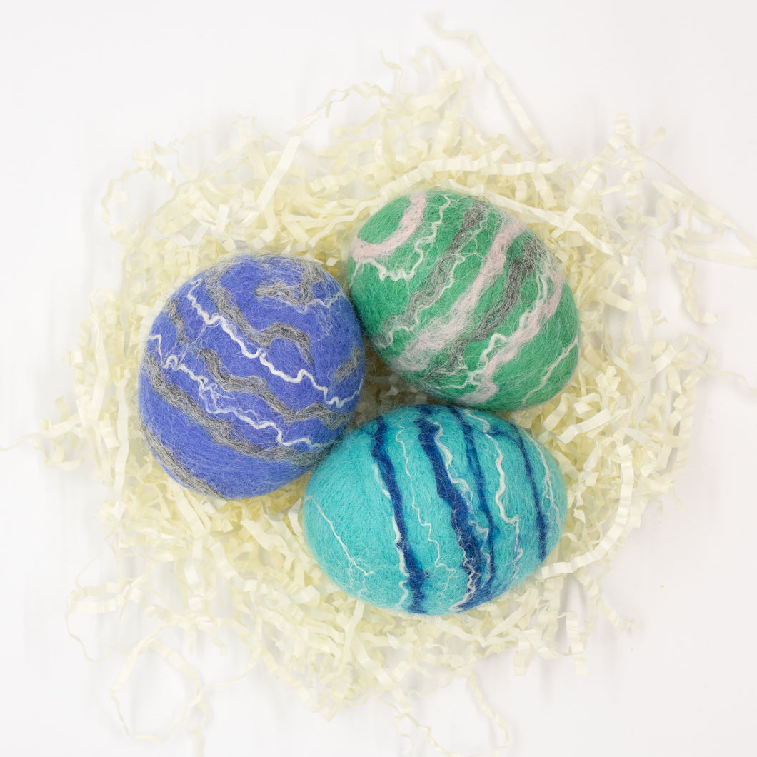 Set of 3 Felted Egg Soaps - Purple, Teal, Light Blue Striped