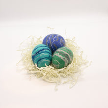 Load image into Gallery viewer, Set of 3 Felted Egg Soaps - Purple, Teal, Light Blue Striped