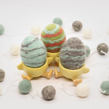 Load image into Gallery viewer, Set of 3 Felted Egg Soaps - Green, Light Blue, Gray Striped