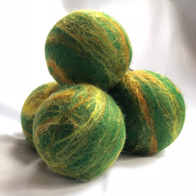 Single Merino Wool Felted Soap Ball - Green and Gold