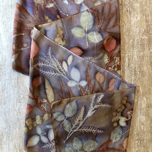 Botanical Dyed Table Runner - 100% Stonewashed Silk - One of a kind - Only 1 available