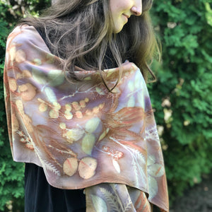 Botanical Dyed Shawl - 100% Stonewashed Silk - One of a kind - Only 1 available
