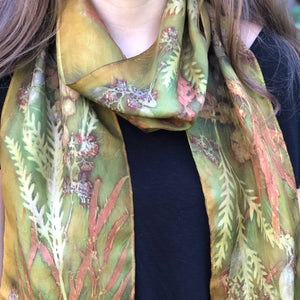 Botanical Dyed Scarf - 100% Silk - One of a kind - Only 1 available
