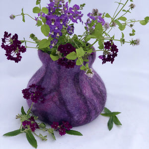 Merino Wool Felted Vase - Purple - One of a kind - Only 1 available