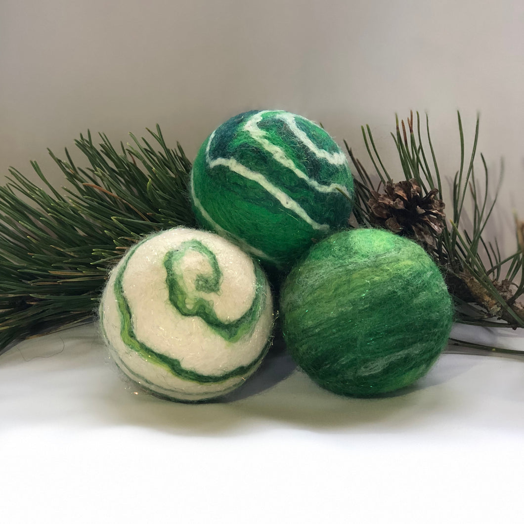 Holiday Felted Soap - Set of 3 - Green