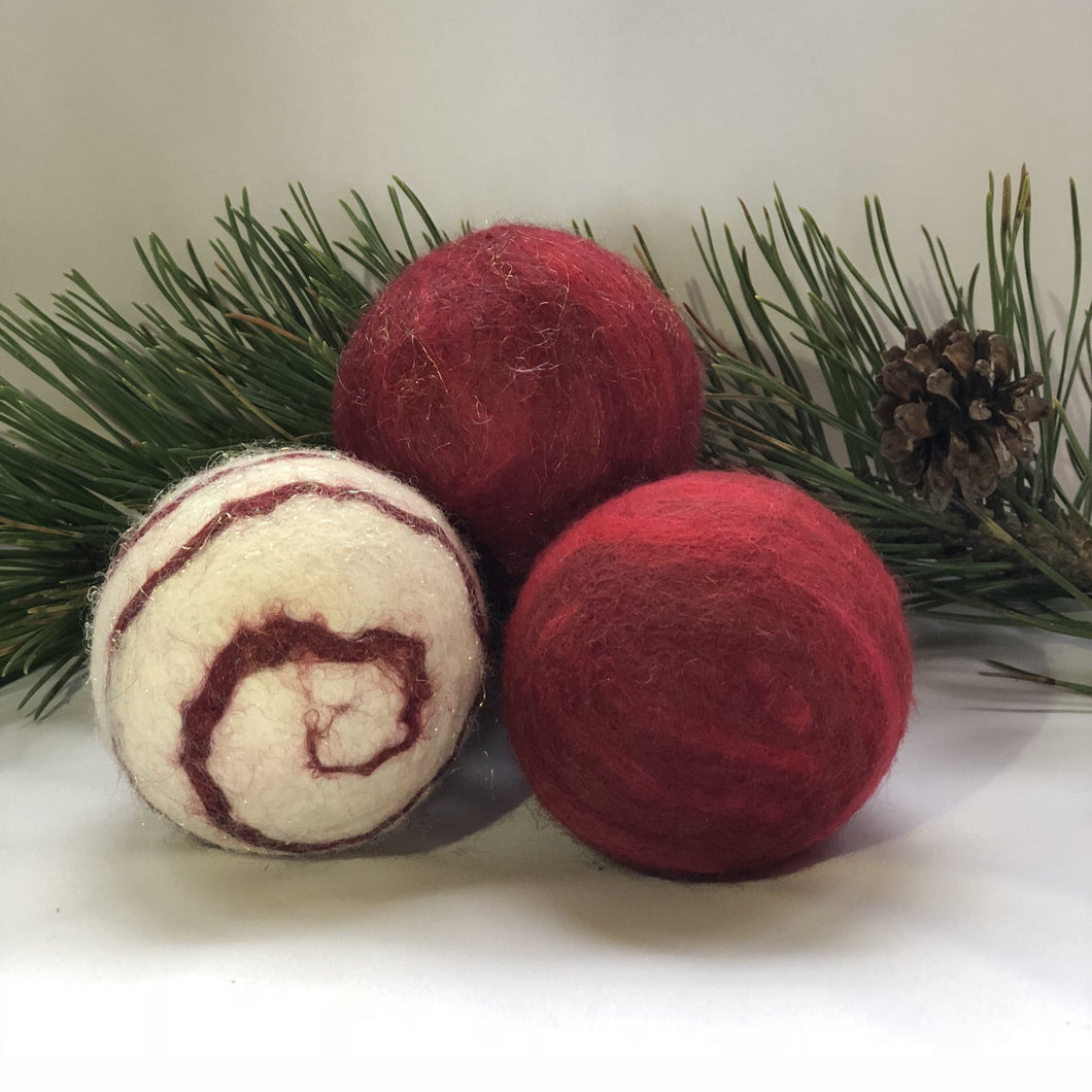 Holiday Felted Soap - Set of 3 - Red