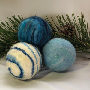 Holiday Felted Soap - Set of 3 - Blue