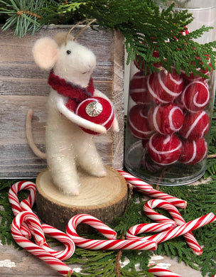 Felted Wool Christmas Mouse