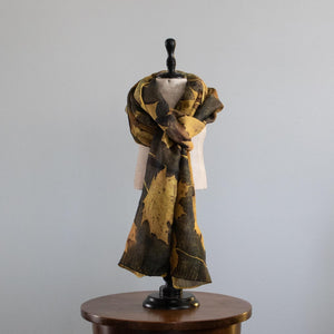Botanical Dyed Silk Wool Blend Shawl- One of a kind
