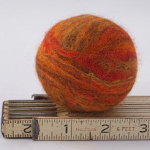Single Merino Wool Felted Soap Ball - Fall Orange