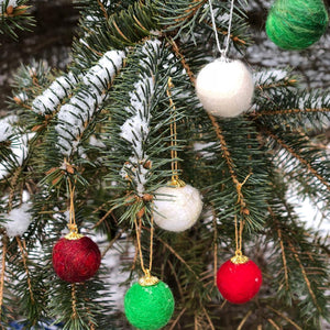 Set of 6 Felted Ornaments
