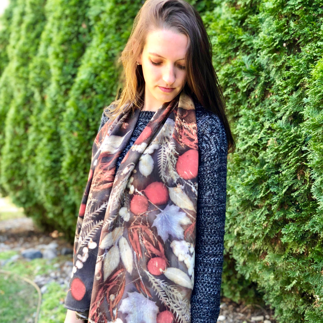 Maple Botanical Dyed Scarf - 100% Stonewashed Silk - One of a kind - Only 1 available