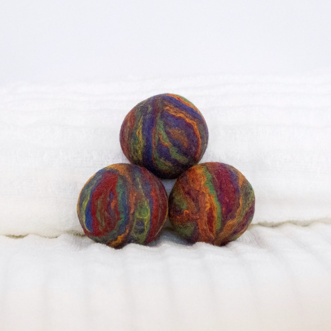 Single Merino Wool Felted Dryer Ball - Rainbow