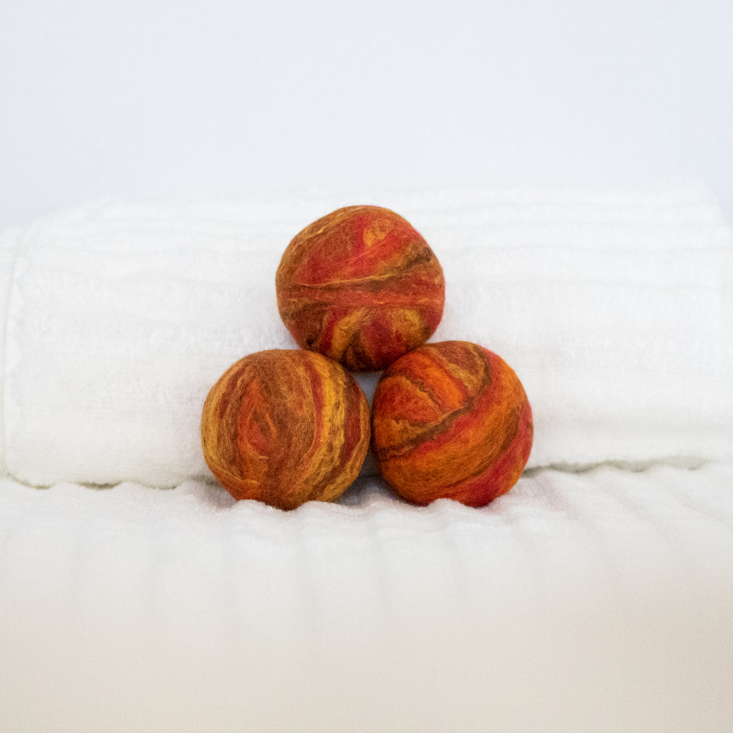 Single Merino Wool Felted Dryer Ball - Orange