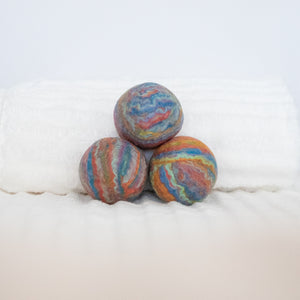 Single Merino Wool Felted Dryer Ball - Pastel Rainbow