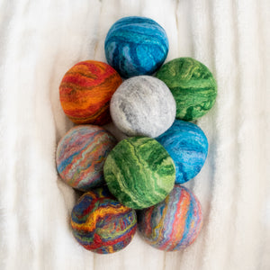 Merino Wool Felted Dryer Ball - Set of 3