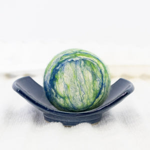 Single Merino Wool Felted Soap Ball - Emerald Forest