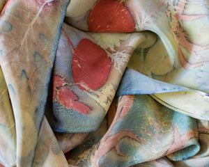 Botanical Dyed Stonewashed Silk Scarf, One of a Kind
