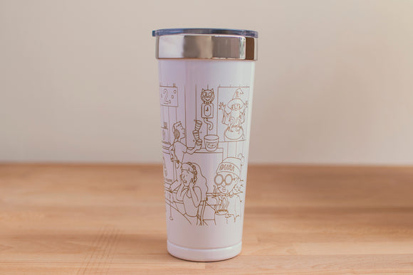 SketchyMedical White/Gold Tumbler (20 oz)